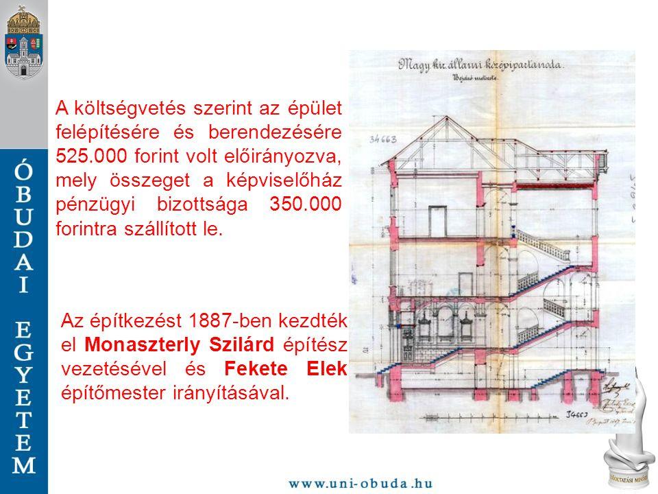 A költségvetés szerint az épület felépítésére és berendezésére 525.000 forint volt előirányozva, mely összeget a képviselőház pénzügyi bizottsága 350.