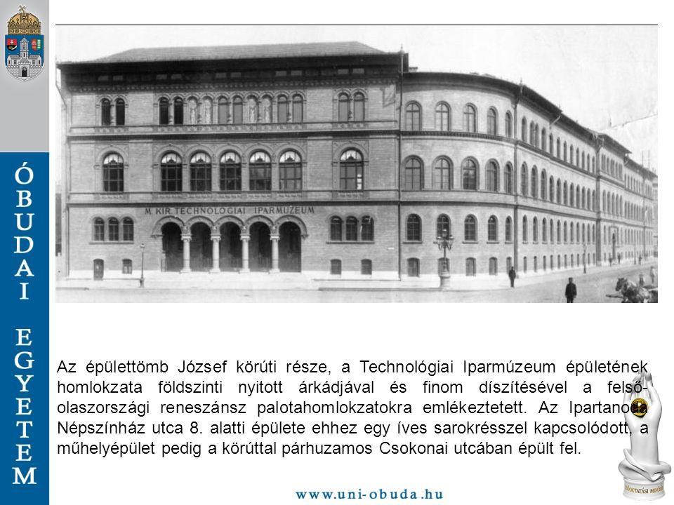 Az épülettömb József körúti része, a Technológiai Iparmúzeum épületének homlokzata földszinti nyitott árkádjával és finom díszítésével a felső- olaszo