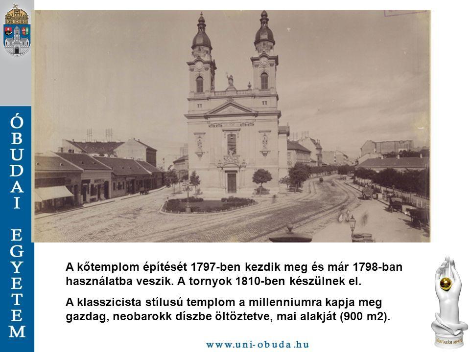 A kőtemplom építését 1797-ben kezdik meg és már 1798-ban használatba veszik. A tornyok 1810-ben készülnek el. A klasszicista stílusú templom a millenn