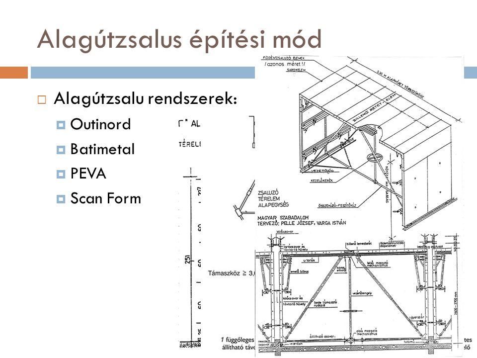 Alagútzsalus építési mód  Alagútzsalu rendszerek:  Outinord  Batimetal  PEVA  Scan Form