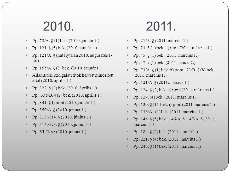 (2010.) 2011. Pp. 247. § (1) bek. (2011. március 1.)  Pp.