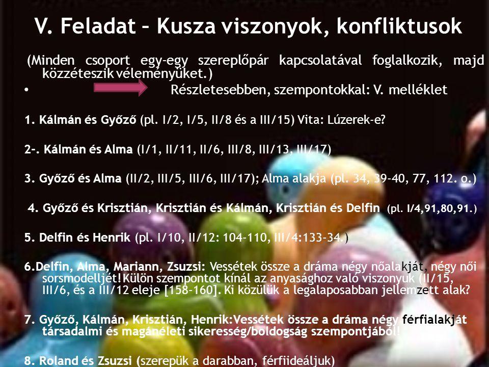 V. Feladat – Kusza viszonyok, konfliktusok s (Minden csoport egy-egy szereplőpár kapcsolatával foglalkozik, majd közzéteszik véleményüket.) • Részlete