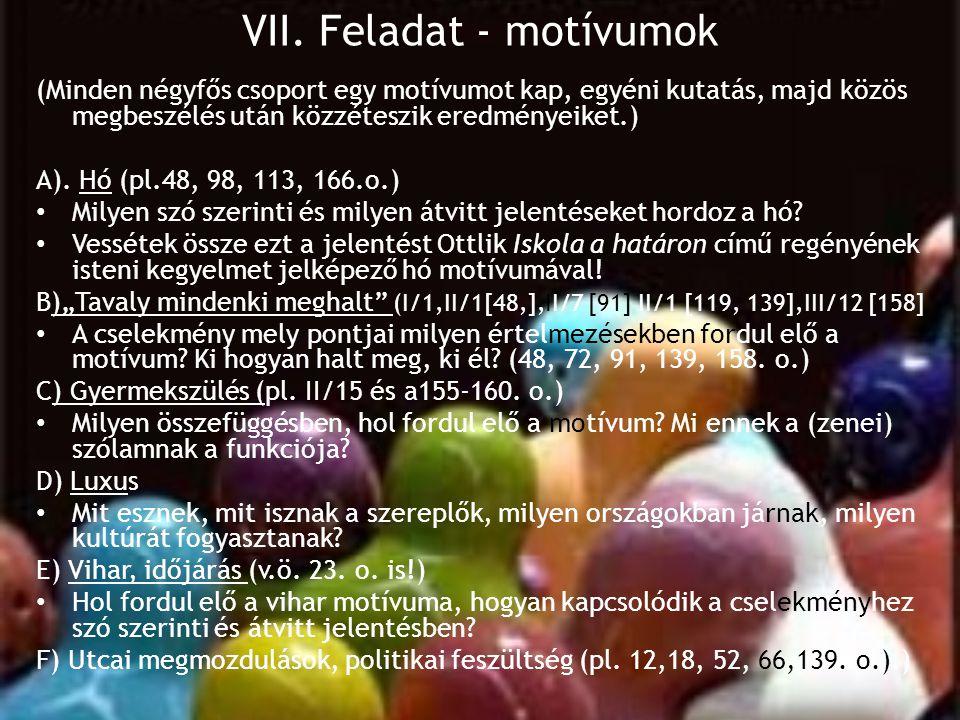 VII. Feladat - motívumok (Minden négyfős csoport egy motívumot kap, egyéni kutatás, majd közös megbeszélés után közzéteszik eredményeiket.) A). Hó (pl