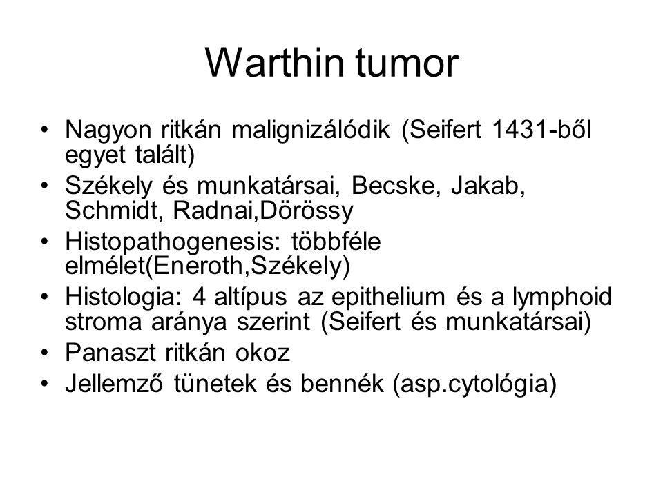 Warthin tumor •Nagyon ritkán malignizálódik (Seifert 1431-ből egyet talált) •Székely és munkatársai, Becske, Jakab, Schmidt, Radnai,Dörössy •Histopath