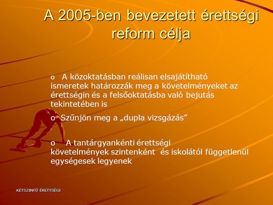 KÉTSZINTŰ ÉRETTSÉGI A 2005-ben bevezetett érettségi reform célja o A közoktatásban reálisan elsajátítható ismeretek határozzák meg a követelményeket a