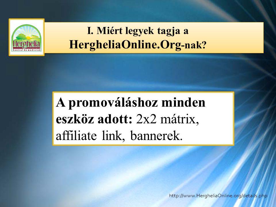 I. Miért legyek tagja a HergheliaOnline.Org -nak? A promováláshoz minden eszköz adott: 2x2 mátrix, affiliate link, bannerek. http://www.HergheliaOnlin