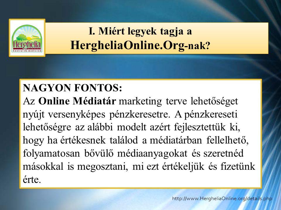 I. Miért legyek tagja a HergheliaOnline.Org -nak? NAGYON FONTOS: Az Online Médiatár marketing terve lehetőséget nyújt versenyképes pénzkeresetre. A pé