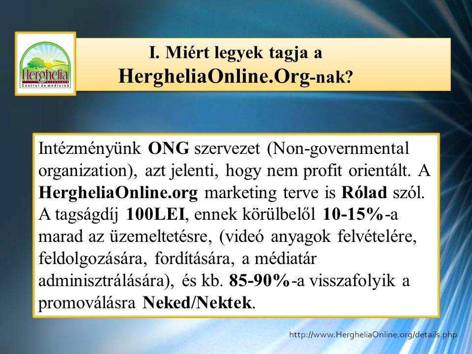 I. Miért legyek tagja a HergheliaOnline.Org -nak? Intézményünk ONG szervezet (Non-governmental organization), azt jelenti, hogy nem profit orientált.