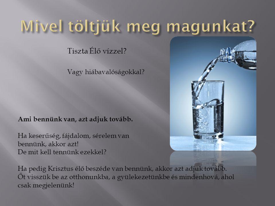 Tiszta Élő vízzel? Vagy hiábavalóságokkal? Ami bennünk van, azt adjuk tovább. Ha keserűség, fájdalom, sérelem van bennünk, akkor azt! De mit kell tenn