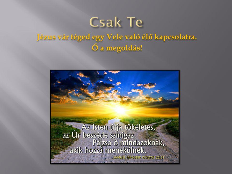 Jézus vár téged egy Vele való élő kapcsolatra. Ő a megoldás! Jézus vár téged egy Vele való élő kapcsolatra. Ő a megoldás!