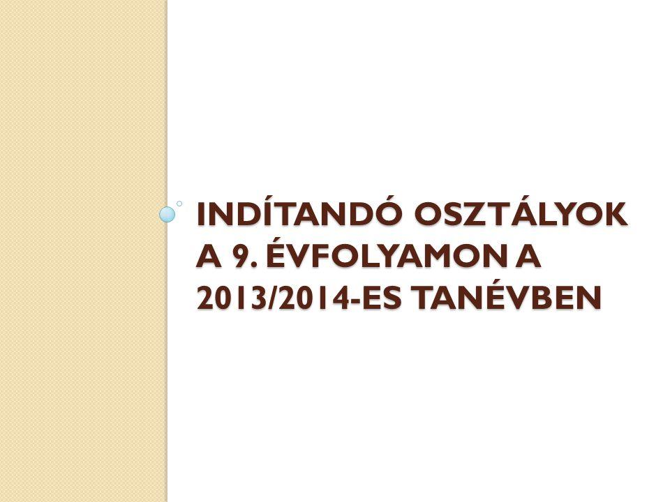 INDÍTANDÓ OSZTÁLYOK A 9. ÉVFOLYAMON A 2013/2014-ES TANÉVBEN