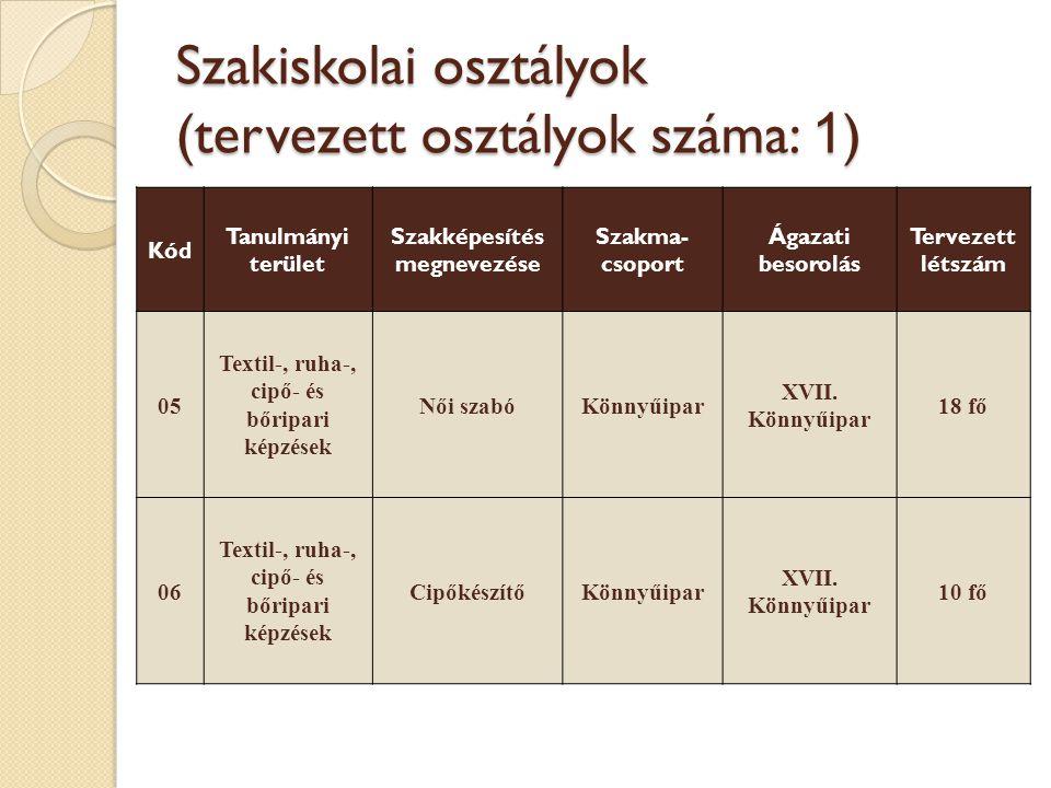 Szakiskolai osztályok (tervezett osztályok száma: 1 ) Kód Tanulmányi terület Szakképesítés megnevezése Szakma- csoport Ágazati besorolás Tervezett lét
