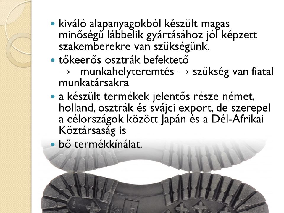  kiváló alapanyagokból készült magas minőségű lábbelik gyártásához jól képzett szakemberekre van szükségünk.  tőkeerős osztrák befektető → munkahely