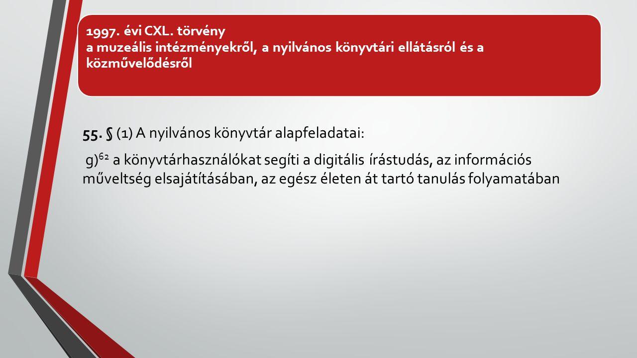 1997. évi CXL. törvény a muzeális intézményekről, a nyilvános könyvtári ellátásról és a közművelődésről 55. § (1) A nyilvános könyvtár alapfeladatai: