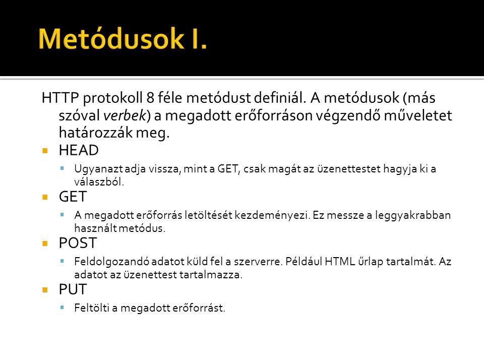 HTTP protokoll 8 féle metódust definiál. A metódusok (más szóval verbek) a megadott erőforráson végzendő műveletet határozzák meg.  HEAD  Ugyanazt a