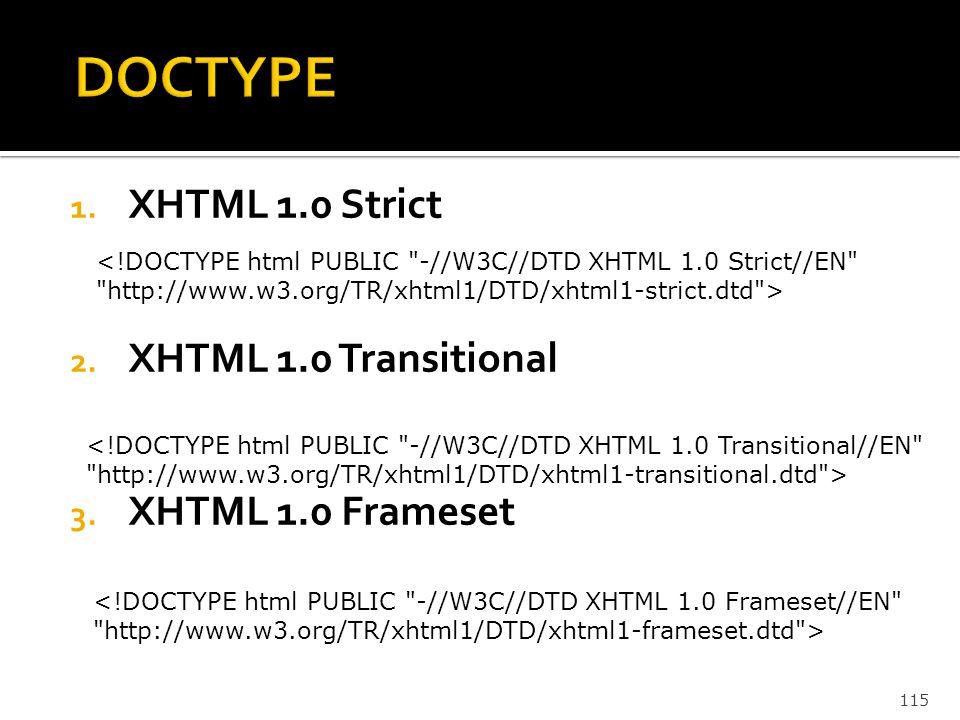 115 1. XHTML 1.0 Strict 2. XHTML 1.0 Transitional 3. XHTML 1.0 Frameset <!DOCTYPE html PUBLIC