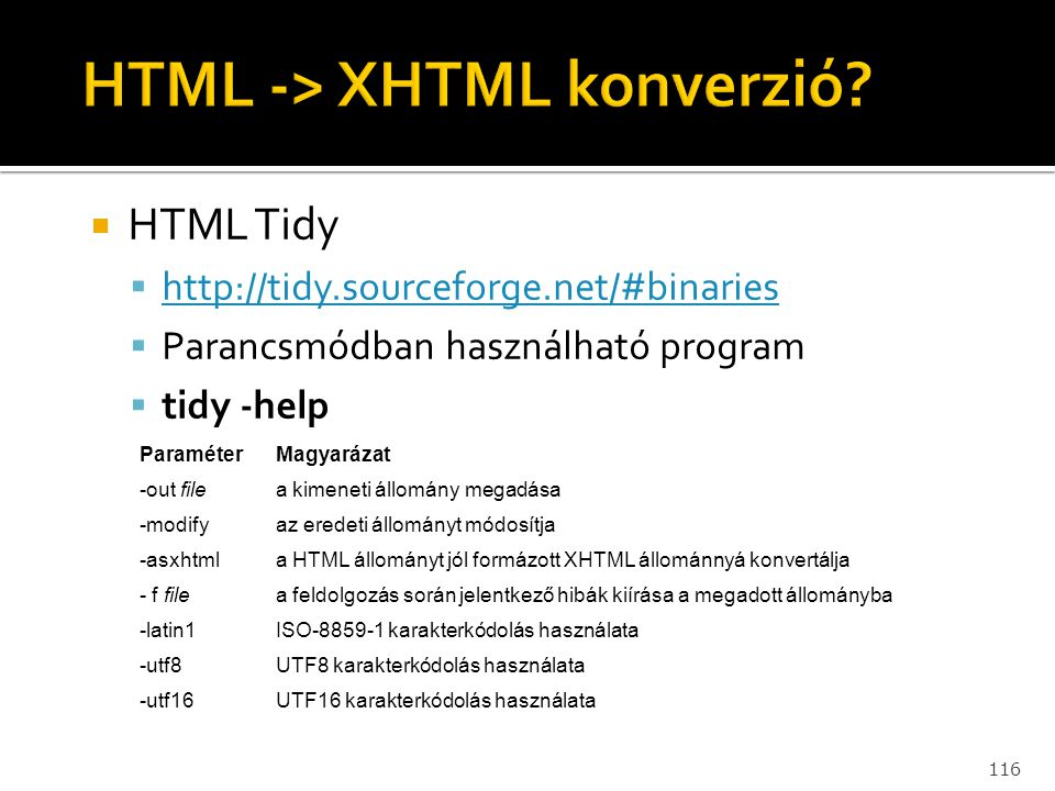 116  HTML Tidy  http://tidy.sourceforge.net/#binaries http://tidy.sourceforge.net/#binaries  Parancsmódban használható program  tidy -help Paramét