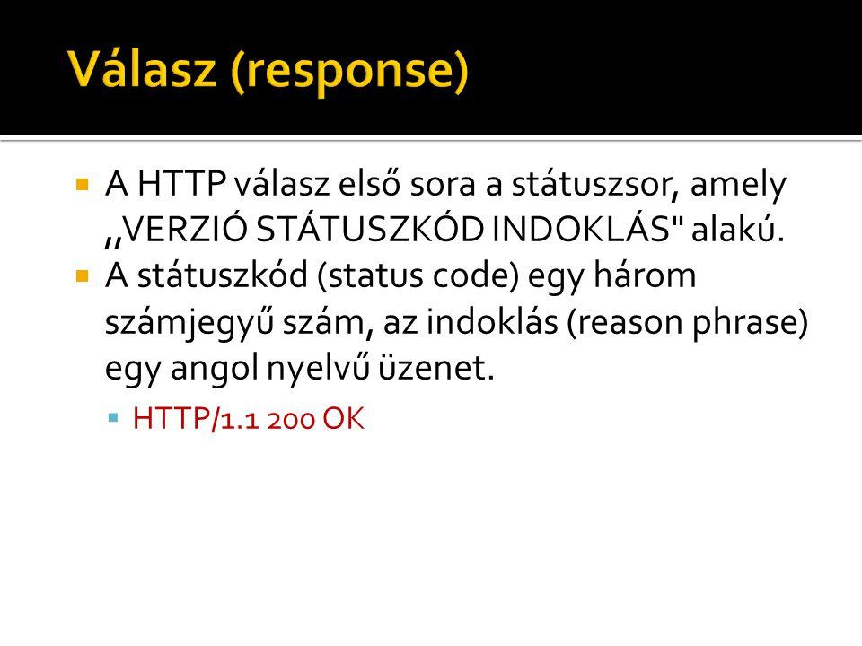  A HTTP válasz első sora a státuszsor, amely,,VERZIÓ STÁTUSZKÓD INDOKLÁS