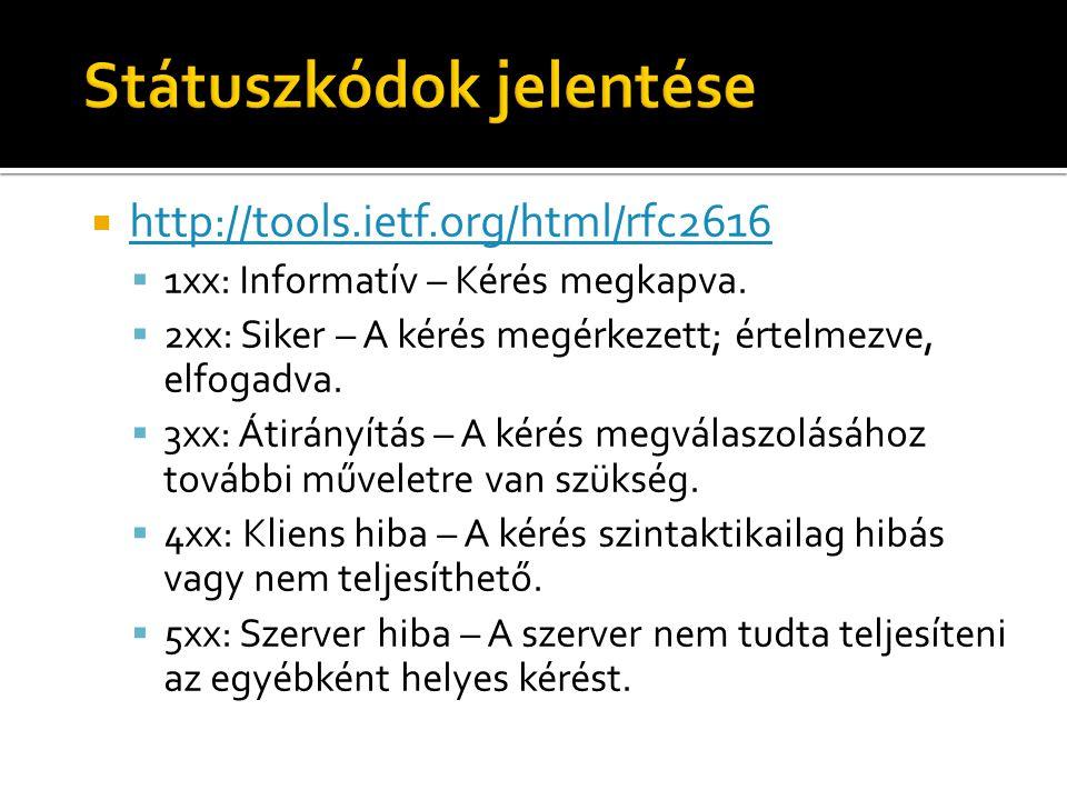  http://tools.ietf.org/html/rfc2616 http://tools.ietf.org/html/rfc2616  1xx: Informatív – Kérés megkapva.  2xx: Siker – A kérés megérkezett; értelm