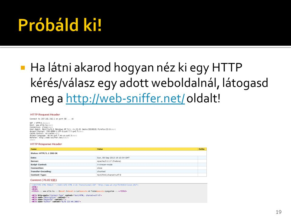 Ha látni akarod hogyan néz ki egy HTTP kérés/válasz egy adott weboldalnál, látogasd meg a http://web-sniffer.net/ oldalt!http://web-sniffer.net/ 19
