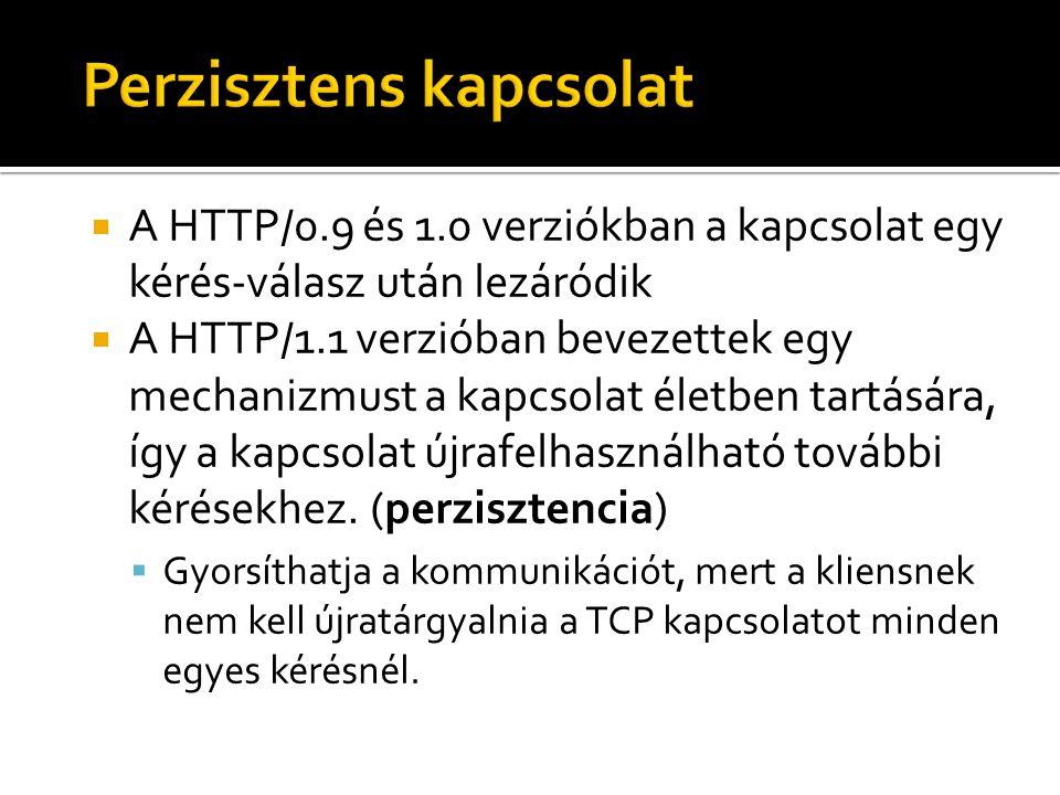  A HTTP/0.9 és 1.0 verziókban a kapcsolat egy kérés-válasz után lezáródik  A HTTP/1.1 verzióban bevezettek egy mechanizmust a kapcsolat életben tart