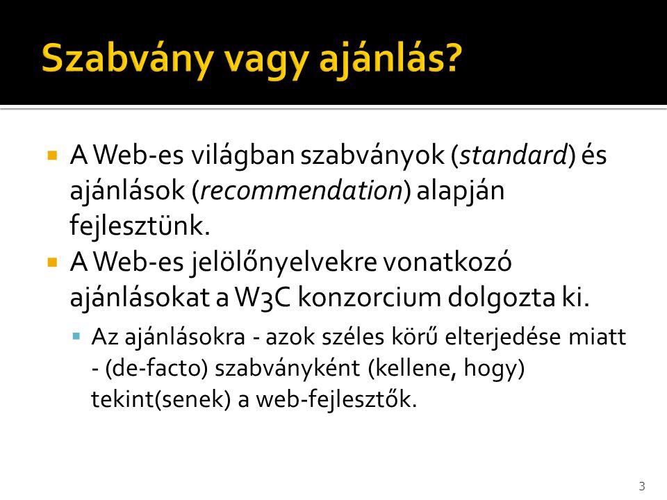  A Web-es világban szabványok (standard) és ajánlások (recommendation) alapján fejlesztünk.  A Web-es jelölőnyelvekre vonatkozó ajánlásokat a W3C ko