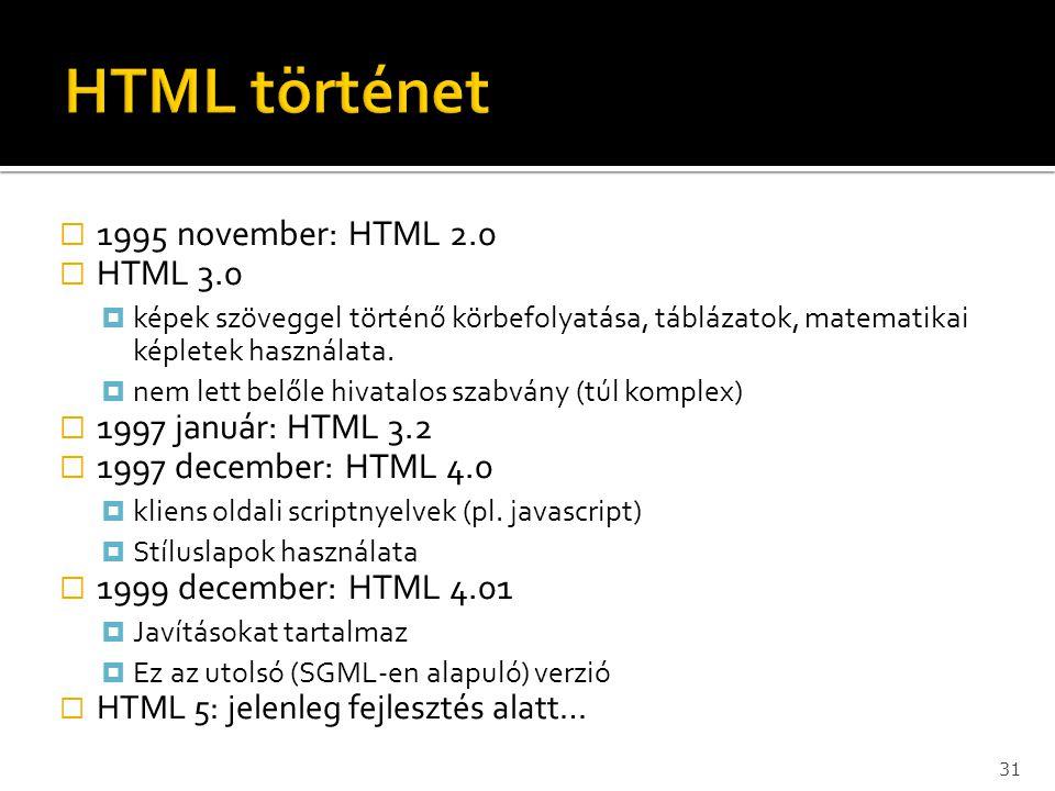  1995 november: HTML 2.0  HTML 3.0  képek szöveggel történő körbefolyatása, táblázatok, matematikai képletek használata.  nem lett belőle hivatalo