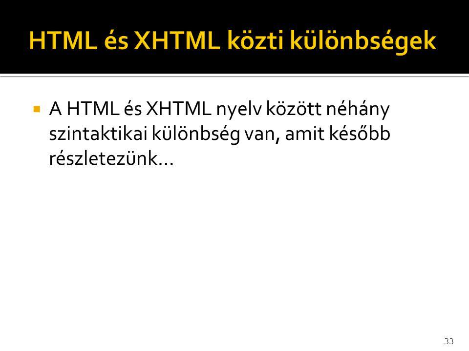  A HTML és XHTML nyelv között néhány szintaktikai különbség van, amit később részletezünk… 33