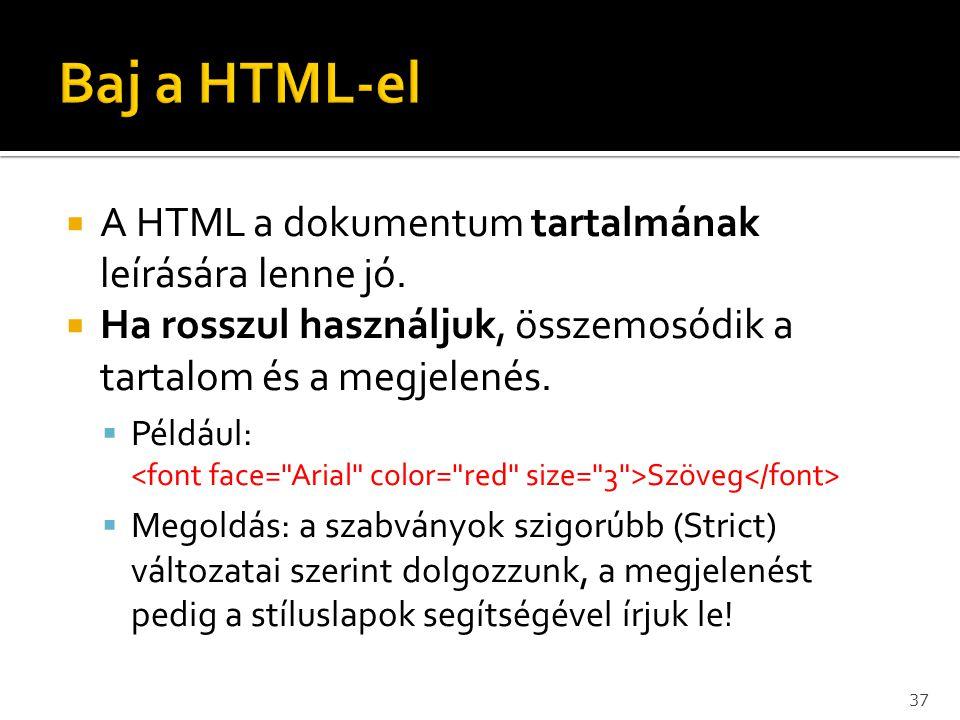 A HTML a dokumentum tartalmának leírására lenne jó.  Ha rosszul használjuk, összemosódik a tartalom és a megjelenés.  Például: Szöveg  Megoldás: