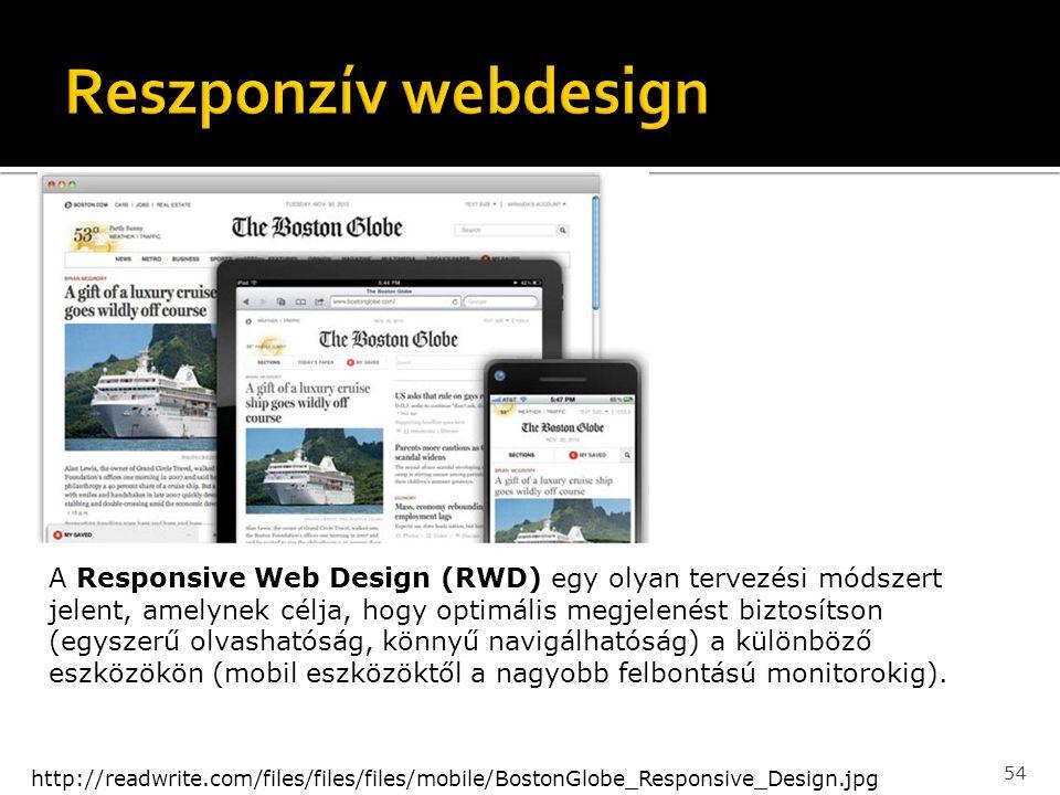 54 http://readwrite.com/files/files/files/mobile/BostonGlobe_Responsive_Design.jpg A Responsive Web Design (RWD) egy olyan tervezési módszert jelent,