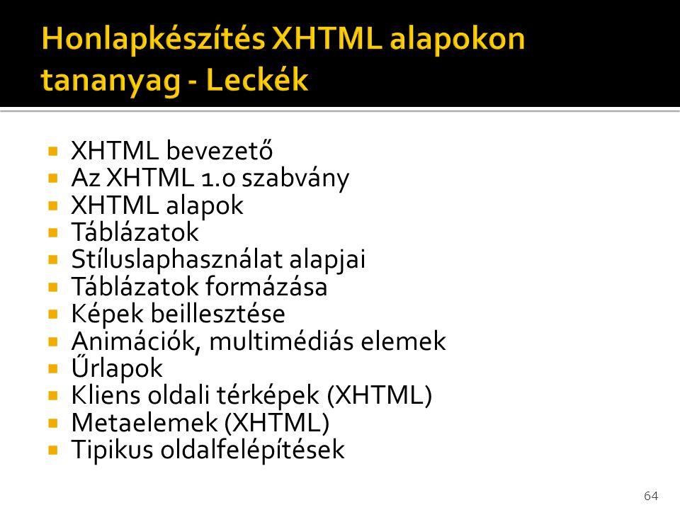  XHTML bevezető  Az XHTML 1.0 szabvány  XHTML alapok  Táblázatok  Stíluslaphasználat alapjai  Táblázatok formázása  Képek beillesztése  Animác
