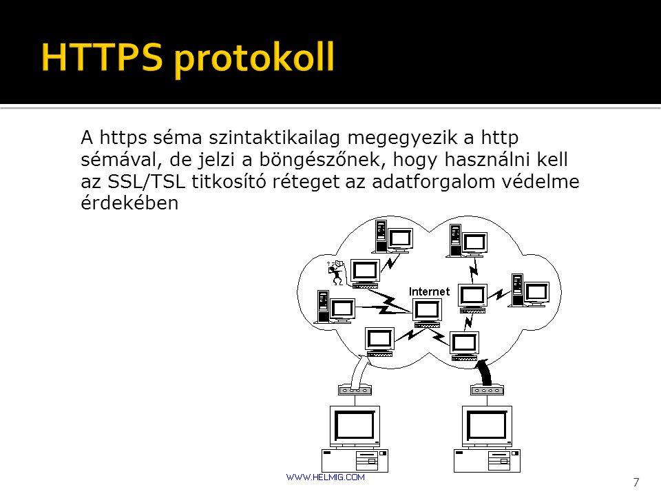 A https séma szintaktikailag megegyezik a http sémával, de jelzi a böngészőnek, hogy használni kell az SSL/TSL titkosító réteget az adatforgalom védel