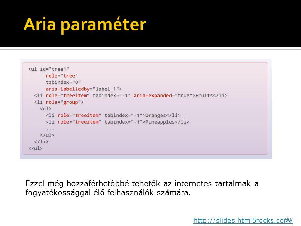 90 http://slides.html5rocks.com/ Ezzel még hozzáférhetőbbé tehetők az internetes tartalmak a fogyatékossággal élő felhasználók számára.