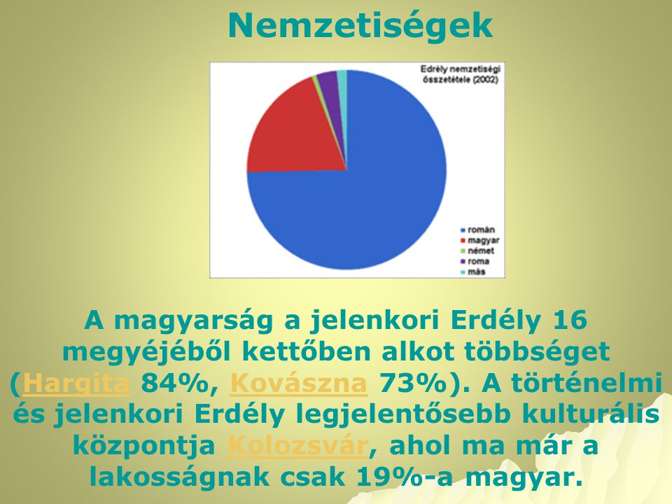 Nemzetiségek A magyarság a jelenkori Erdély 16 megyéjéből kettőben alkot többséget (Hargita 84%, Kovászna 73%). A történelmi és jelenkori Erdély legje