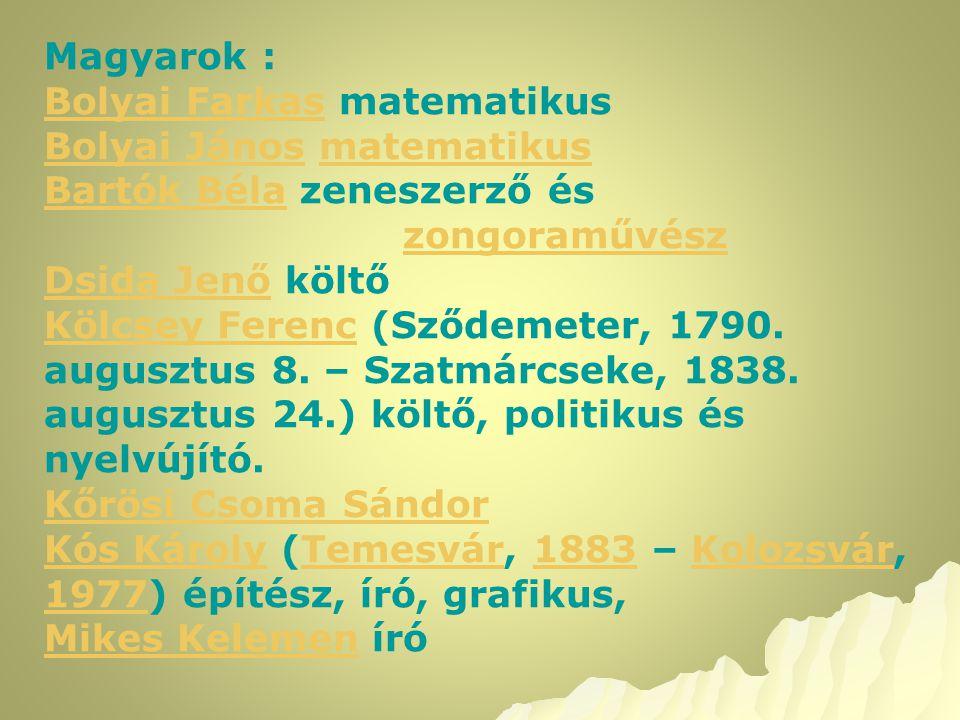 Magyarok : Bolyai FarkasBolyai Farkas matematikus Bolyai JánosBolyai János matematikusmatematikus Bartók BélaBartók Béla zeneszerző és zongoraművész D