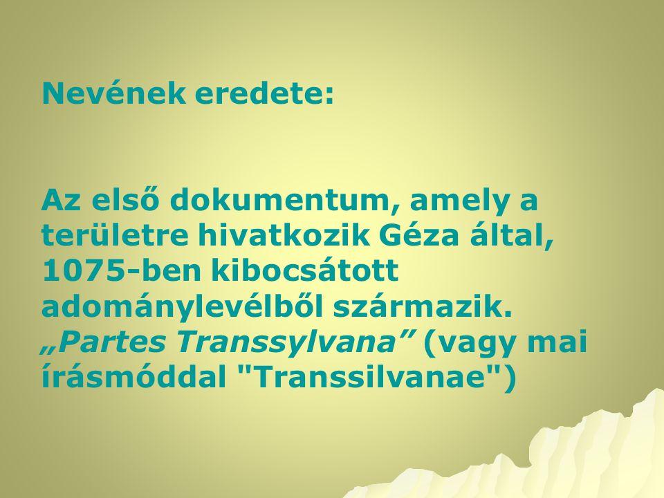 """Nevének eredete: Az első dokumentum, amely a területre hivatkozik Géza által, 1075-ben kibocsátott adománylevélből származik. """"Partes Transsylvana"""" (v"""