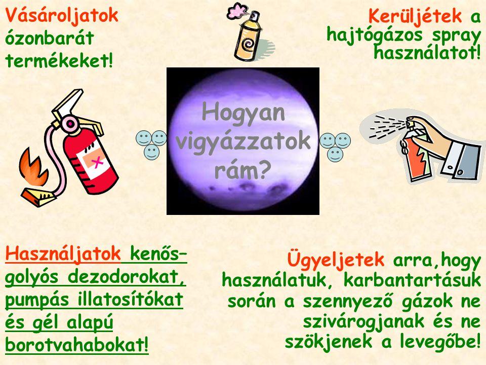 Ügyeljetek arra,hogy használatuk, karbantartásuk során a szennyező gázok ne szivárogjanak és ne szökjenek a levegőbe! Vásároljatok ózonbarát termékeke