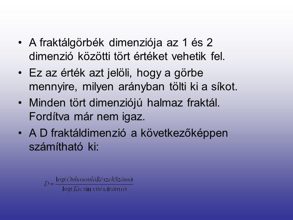 •A fraktálgörbék dimenziója az 1 és 2 dimenzió közötti tört értéket vehetik fel.