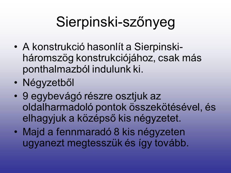 Sierpinski-szőnyeg •A konstrukció hasonlít a Sierpinski- háromszög konstrukciójához, csak más ponthalmazból indulunk ki. •Négyzetből •9 egybevágó rész