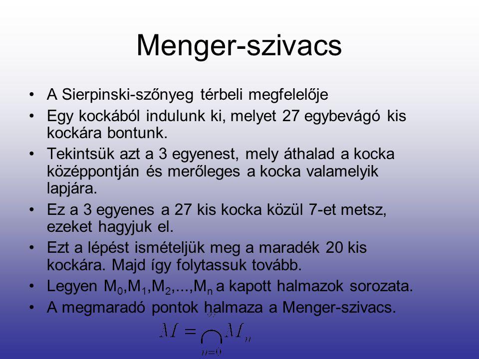 Menger-szivacs •A Sierpinski-szőnyeg térbeli megfelelője •Egy kockából indulunk ki, melyet 27 egybevágó kis kockára bontunk. •Tekintsük azt a 3 egyene