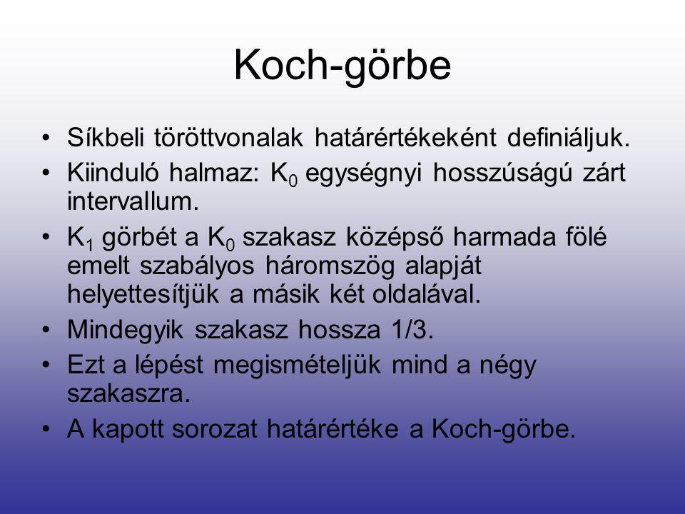 Koch-görbe •Síkbeli töröttvonalak határértékeként definiáljuk. •Kiinduló halmaz: K 0 egységnyi hosszúságú zárt intervallum. •K 1 görbét a K 0 szakasz