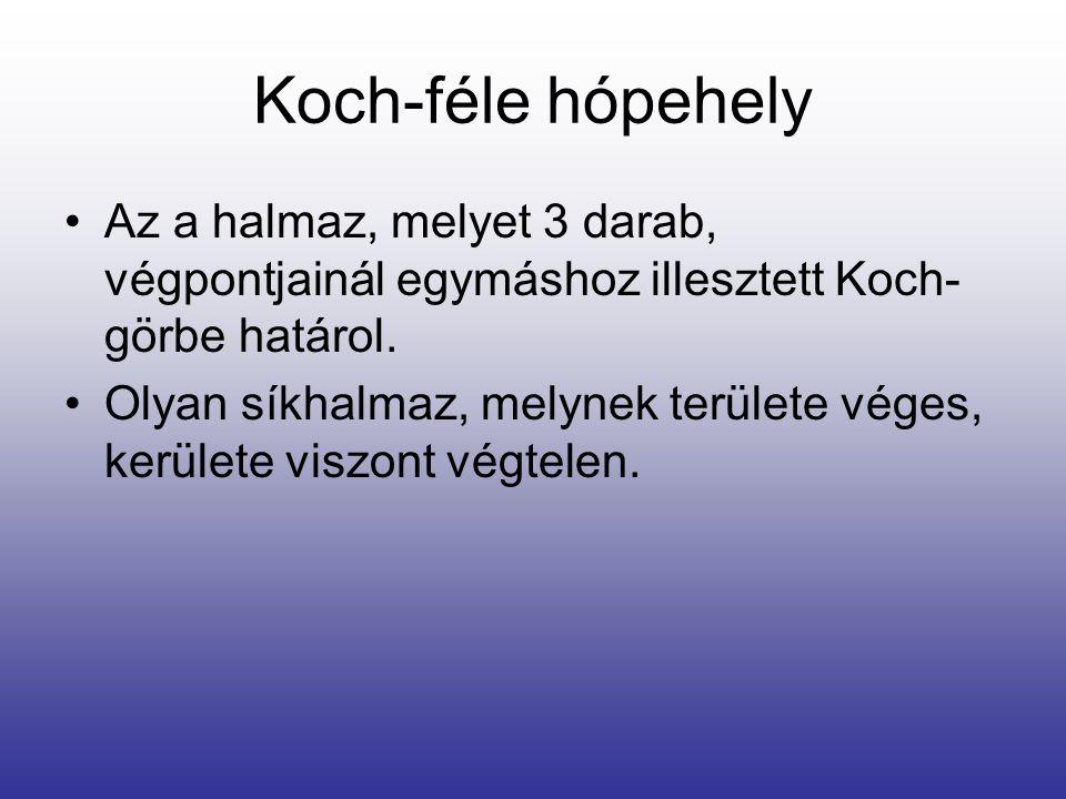 Koch-féle hópehely •Az a halmaz, melyet 3 darab, végpontjainál egymáshoz illesztett Koch- görbe határol. •Olyan síkhalmaz, melynek területe véges, ker