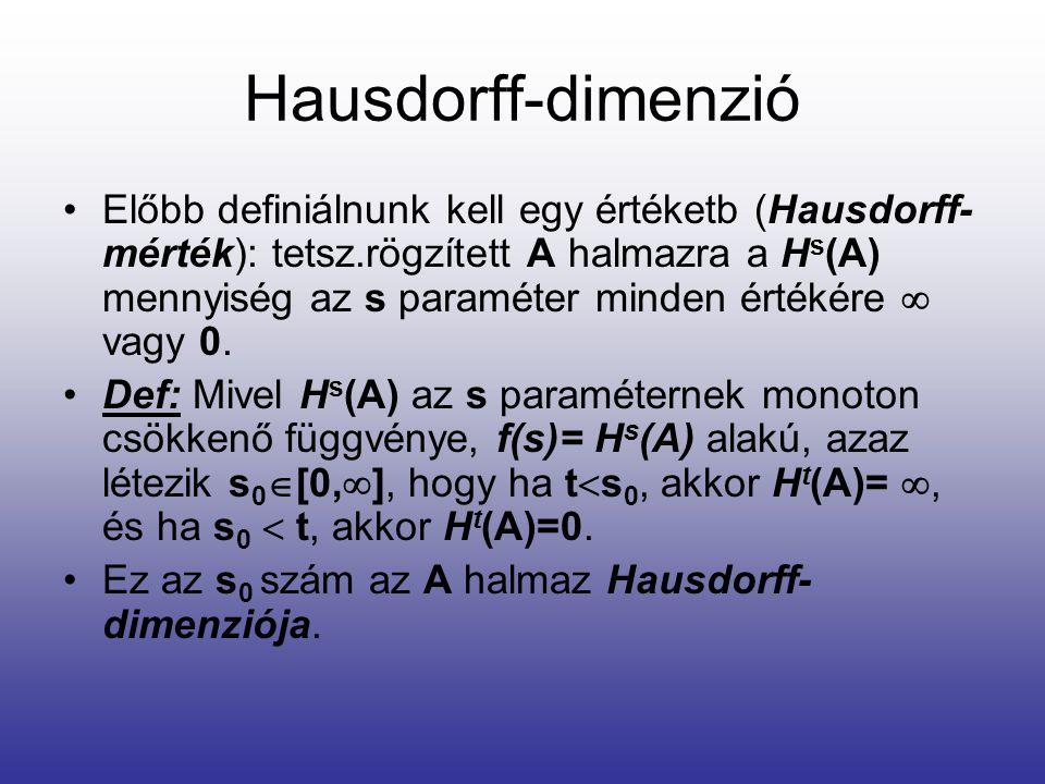 Hausdorff-dimenzió •Előbb definiálnunk kell egy értéketb (Hausdorff- mérték): tetsz.rögzített A halmazra a H s (A) mennyiség az s paraméter minden értékére  vagy 0.