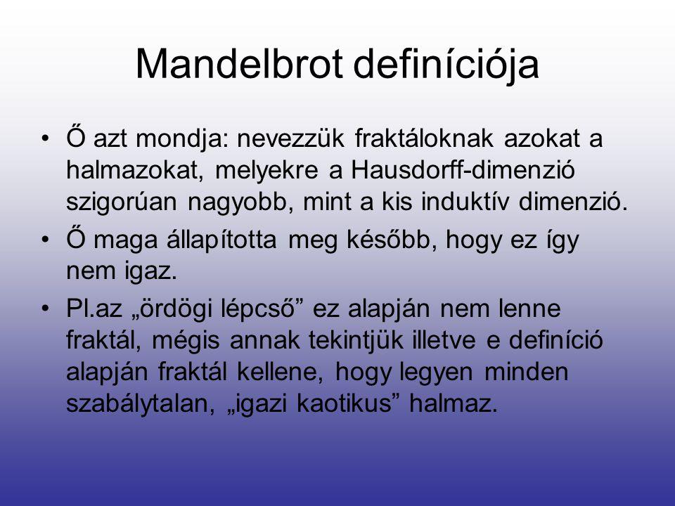 Mandelbrot definíciója •Ő azt mondja: nevezzük fraktáloknak azokat a halmazokat, melyekre a Hausdorff-dimenzió szigorúan nagyobb, mint a kis induktív