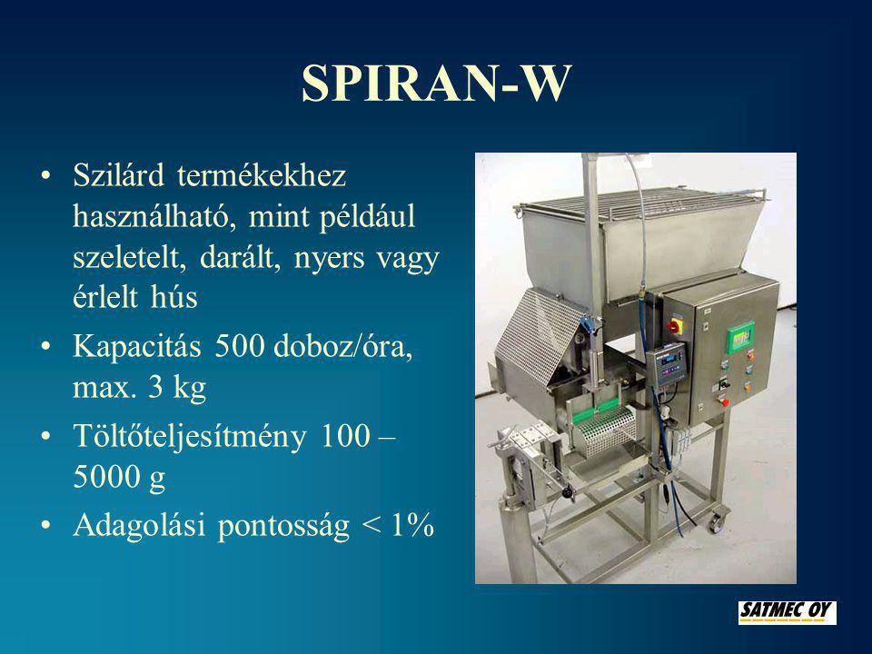 SPIRAN-W •Szilárd termékekhez használható, mint például szeletelt, darált, nyers vagy érlelt hús •Kapacitás 500 doboz/óra, max.