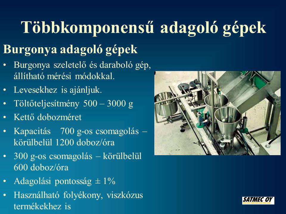 Többkomponensű adagoló gépek Burgonya adagoló gépek •Burgonya szeletelő és daraboló gép, állítható mérési módokkal.