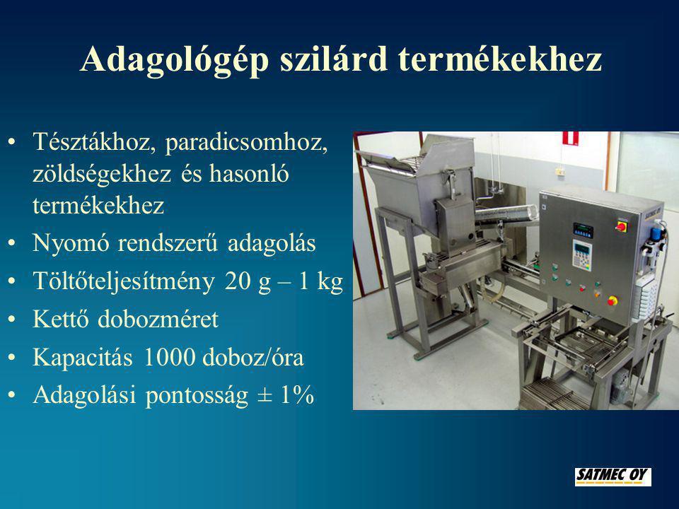 Lezáró (hegesztő) gépek ALUKA lezáró gép •Kapacitás 2000 doboz/óra