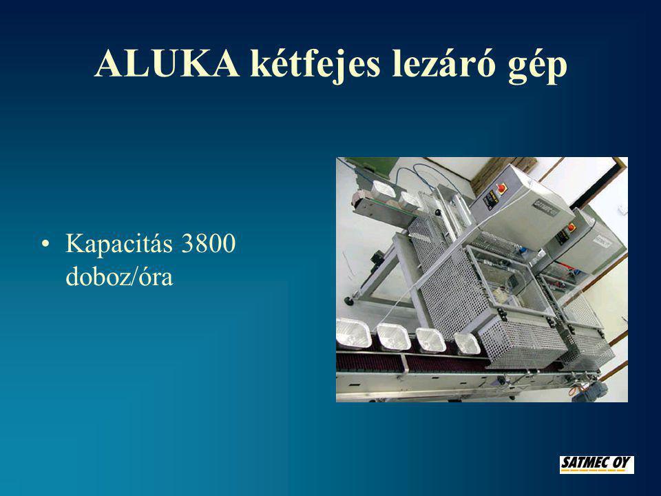 ALUKA kétfejes lezáró gép •Kapacitás 3800 doboz/óra