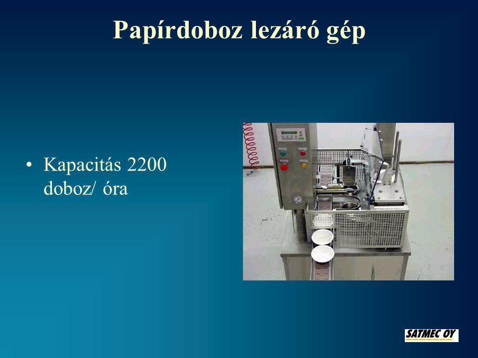 Védőgázos lezáró gép •Kapacitás: védőgázos lezárás 220 doboz/óra •Nyomás lezáráskor 10 kN – 120 kN •A doboz mérete maximum: szélesség260 mm hosszúság 330 mm mélység180 mm