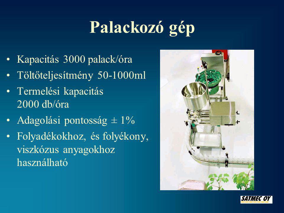 Palackozó gép •Kapacitás 3000 palack/óra •Töltőteljesítmény 50-1000ml •Termelési kapacitás 2000 db/óra •Adagolási pontosság ± 1% •Folyadékokhoz, és folyékony, viszkózus anyagokhoz használható
